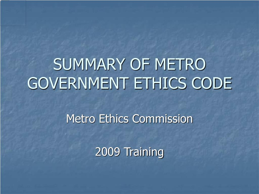 summary of metro government ethics code l.