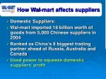 how wal mart affects suppliers
