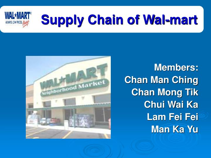 wal mart supply chain practices essay Movement that's the secret to walmart's supply chain we move products to 200 million customers through more than 11,000 stores and, as our customers move to digital, we're moving with them.