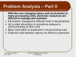 problem analysis part ii