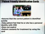 patient friendly identification cards