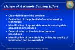 design of a remote sensing effort