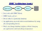 jdbc architecture cont