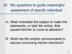 iv ten questions to guide meaningful assessment of specific individual