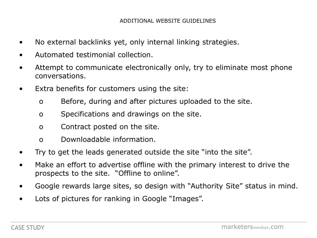 ADDITIONAL WEBSITE GUIDELINES