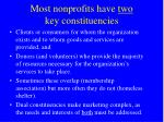 most nonprofits have two key constituencies