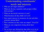 understanding constituents needs and interests