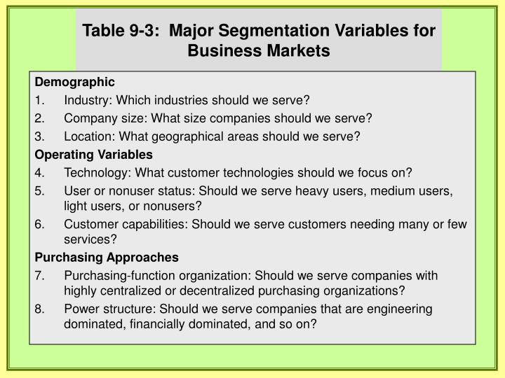 segmentation variables for business markets