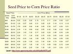 seed price to corn price ratio
