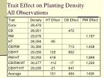 trait effect on planting density all observations
