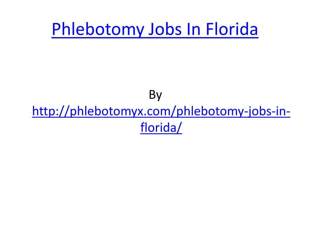 phlebotomy jobs in florida l.