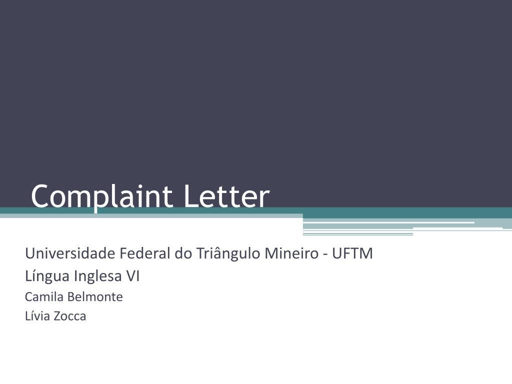 complaint letter l.