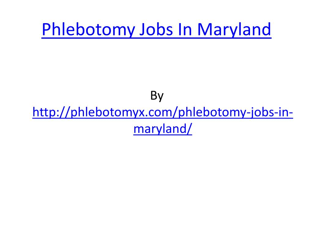phlebotomy jobs in maryland l.