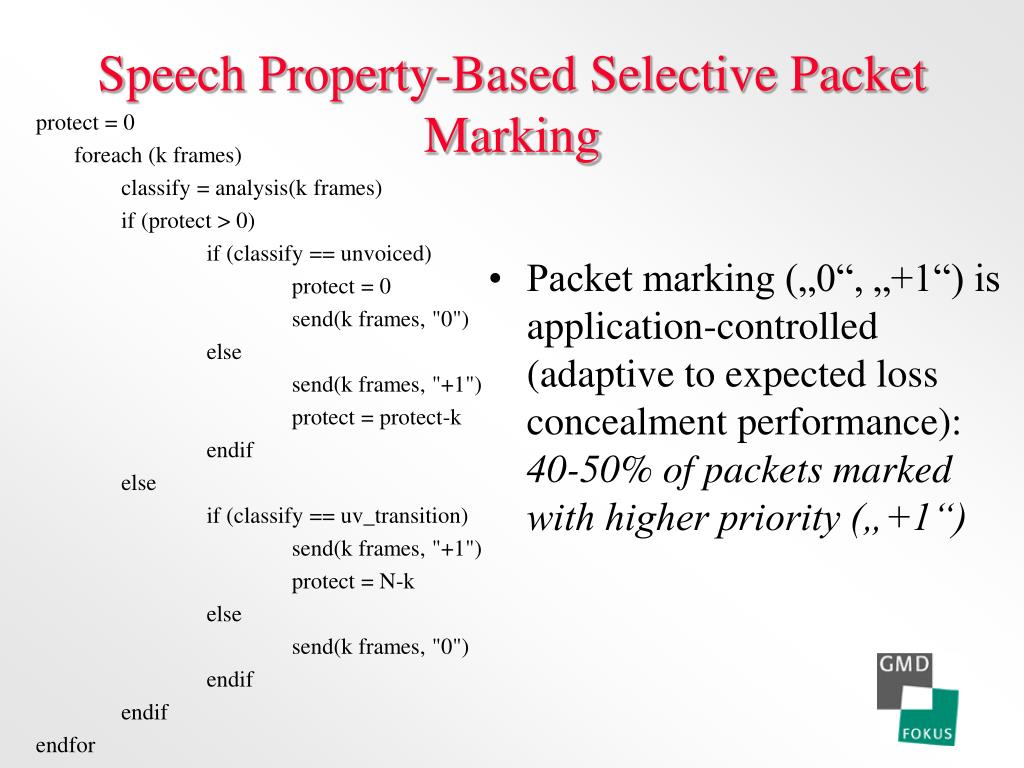 Speech Property-Based Selective Packet Marking