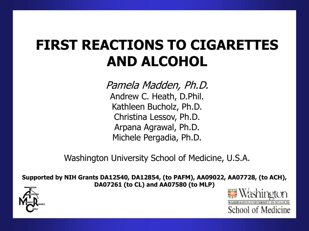 first reactions to cigarettes and alcohol l.