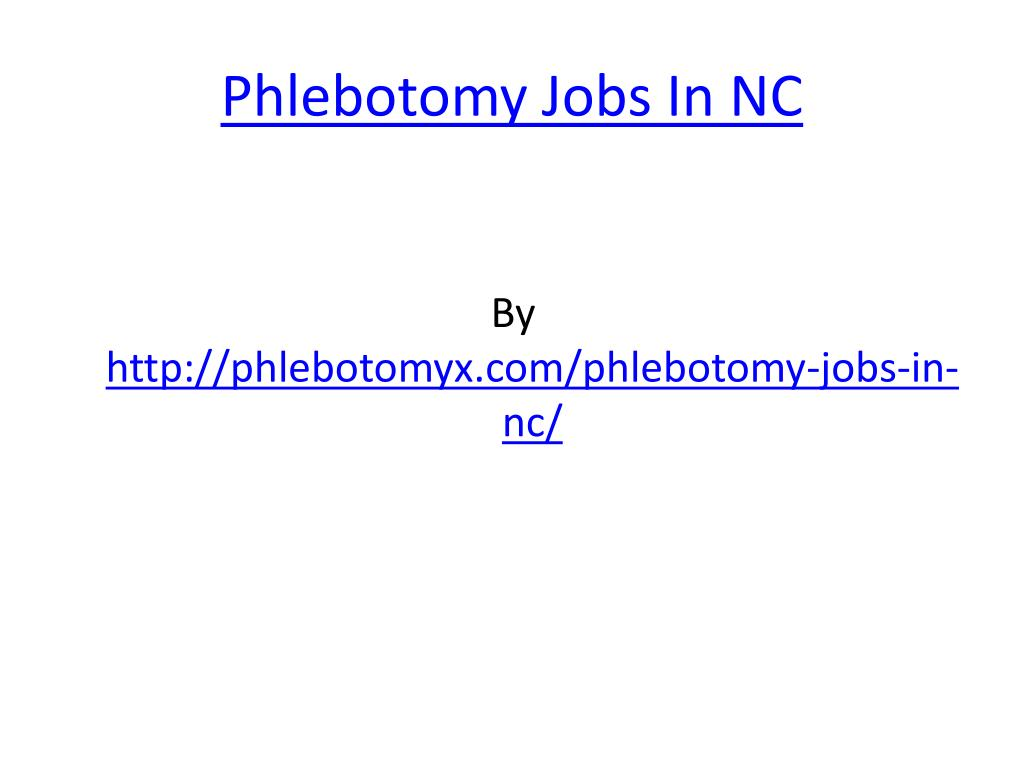 phlebotomy jobs in nc l.