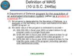 definition of mais 10 u s c 2445a