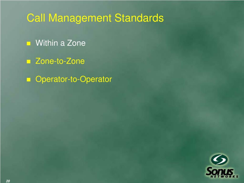 Call Management Standards