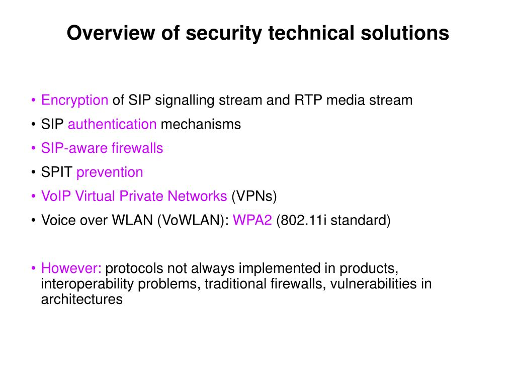 Overview of security technical solutions