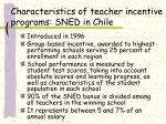characteristics of teacher incentive programs sned in chile