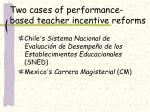 two cases of performance based teacher incentive reforms