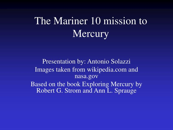 the mariner 10 mission to mercury n.