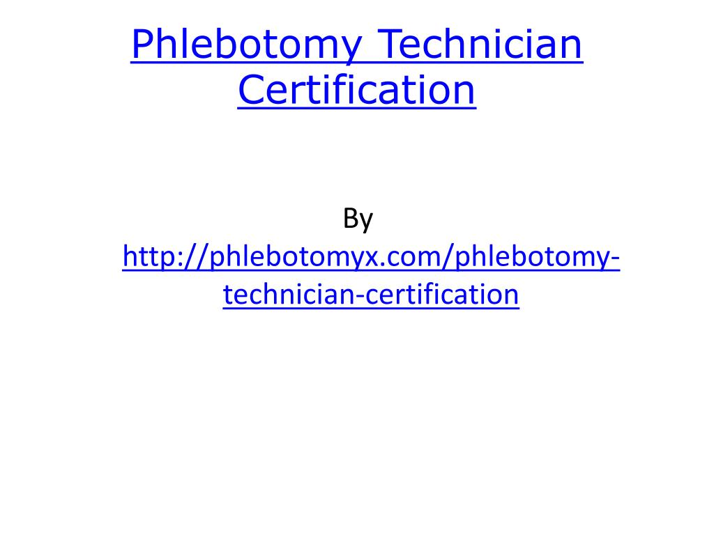 phlebotomy technician certification l.