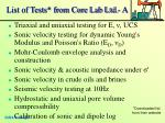 list of tests from core lab ltd a
