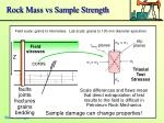 rock mass vs sample strength