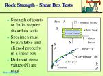 rock strength shear box tests