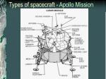 types of spacecraft apollo mission