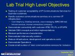 lab trial high level objectives