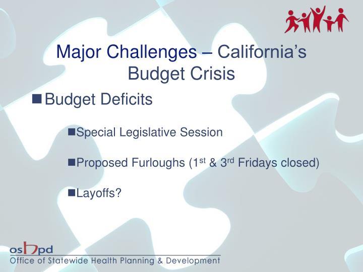 Major Challenges –