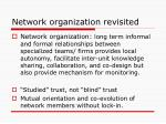 network organization revisited