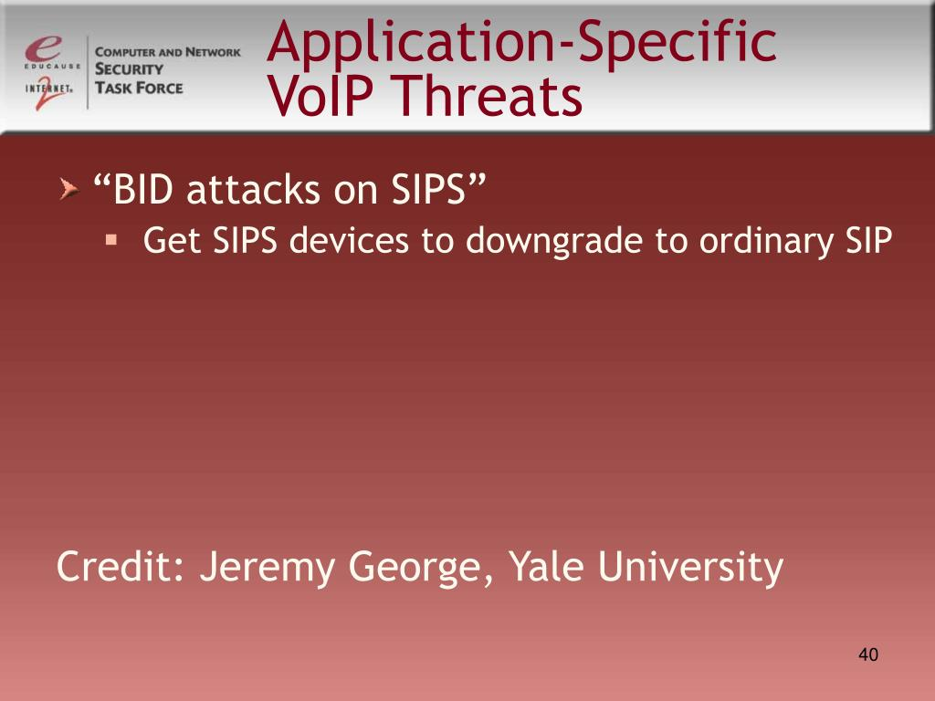 Application-Specific VoIP Threats