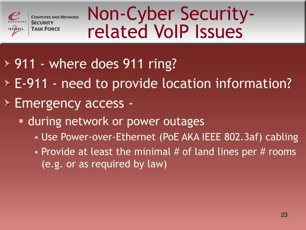 Non-Cyber Security-related VoIP Issues