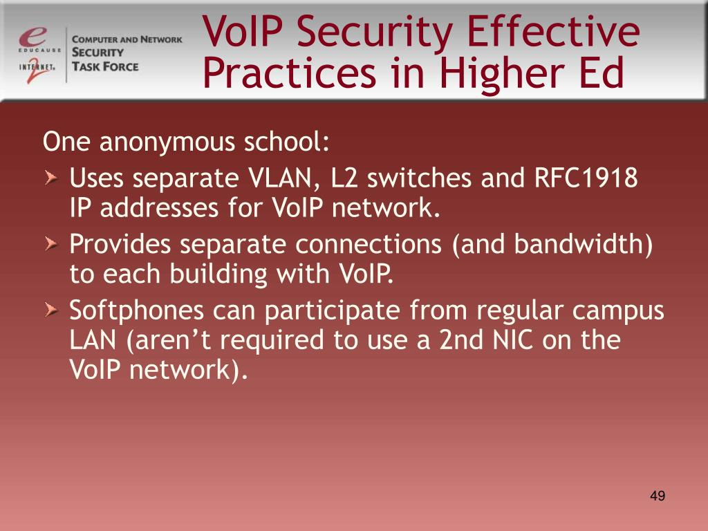 VoIP Security Effective Practices in Higher Ed