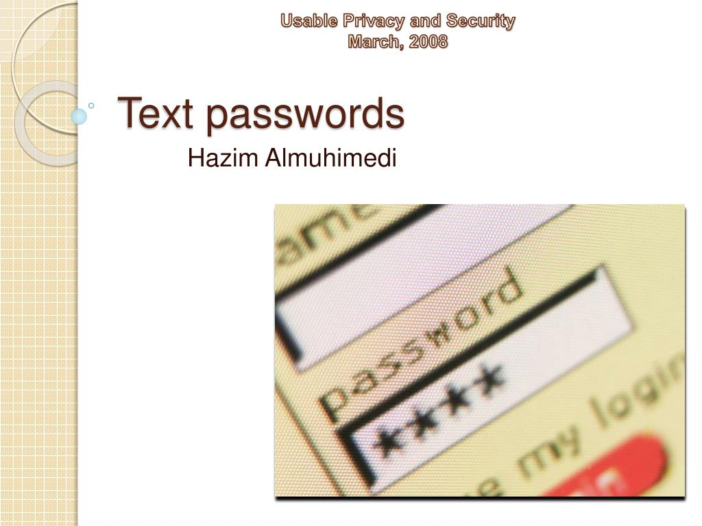 text passwords l.