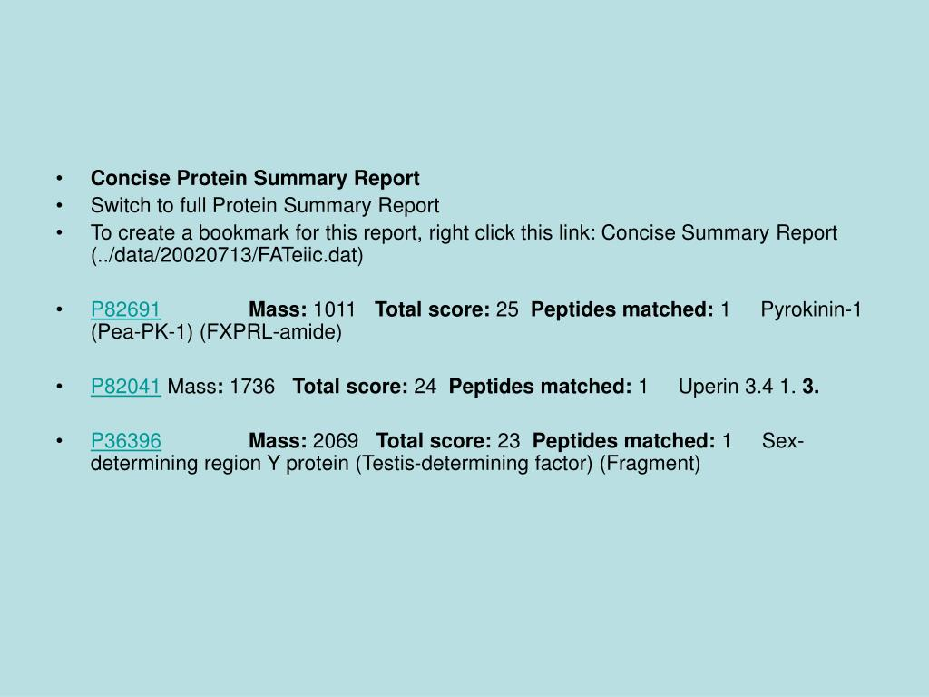 Concise Protein Summary Report