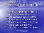 using the magnetic lasso tool