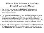 value at risk estimates in the credit default swap index market21