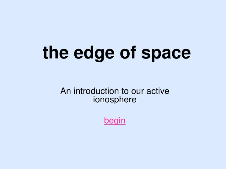 the edge of space n.