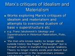 marx s critiques of idealism and materialism