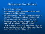 responses to criticisms