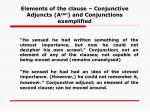 elements of the clause conjunctive adjuncts a con and conjunctions exemplified