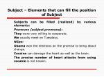 subject elements that can fill the position of subject