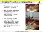 personal precautions handwashing