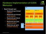 hardware implementation of cuda memories