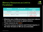 memory resources as limit to parallelism
