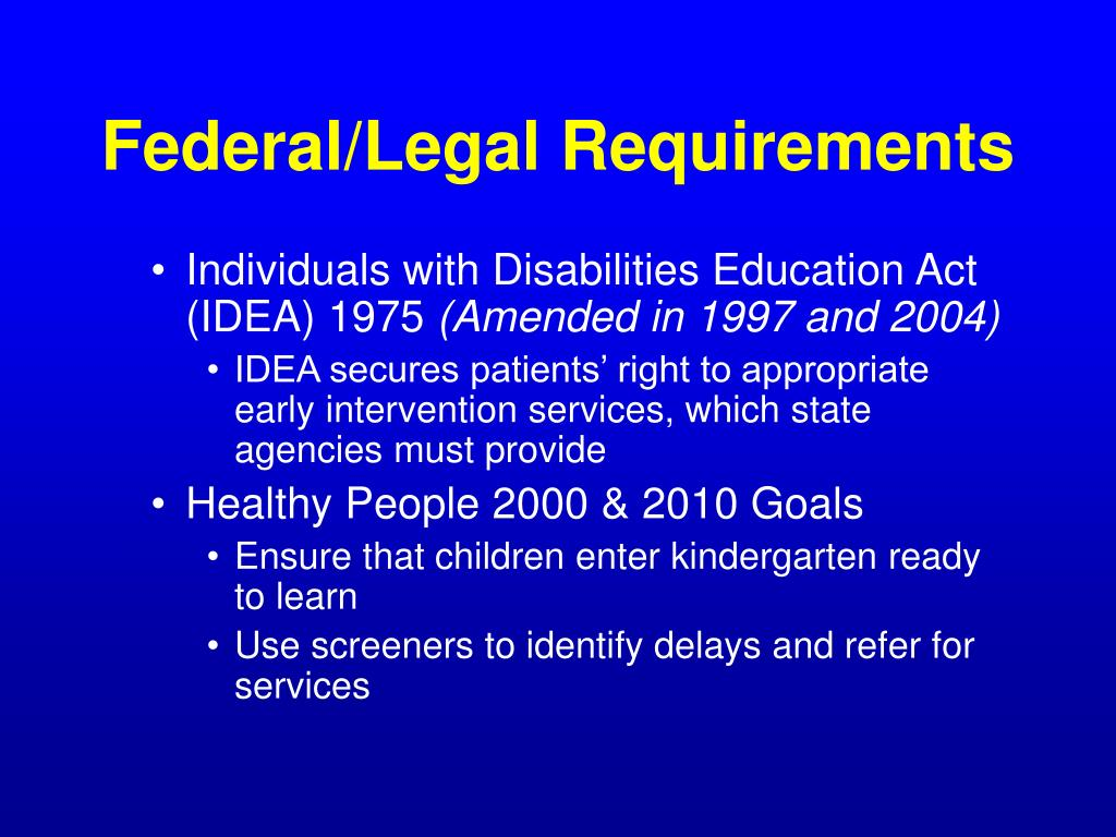 Federal/Legal Requirements